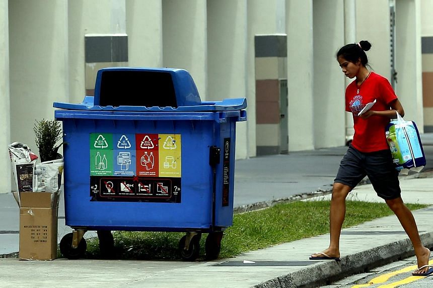 Besides starter kits for HDB households, NEA's tender also calls for void deck posters that direct residents to the nearest recycling bins. Singapore saw a 1 percentage point drop to 19 per cent in the domestic recycling rate last year. Industries ar