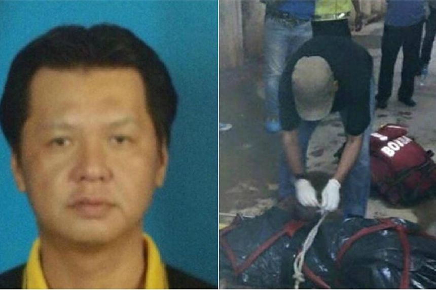 Police said that the victim, 43-year-old Chuan Wan Chooi (left), was not a resident of the condominium. His body (right)was discovered in a water tankin the Bukit Damansara condominium.-- PHOTO:WANBAO/CHINA PRESS