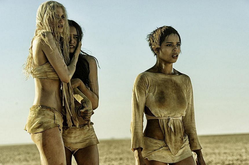 Rosie Huntington-Whiteley and models playing the tyrant's wives (from far left) Abbey Lee and Courtney Eaton, with American actress Zoe Kravitz in Mad Max: Fury Road. -- PHOTO: GOLDEN VILLAGE