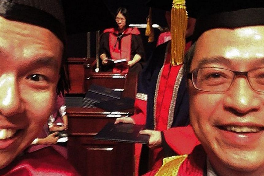NTU graduate Terence Heng (left) took a wefie with the presiding officer at his convocation ceremony last August.