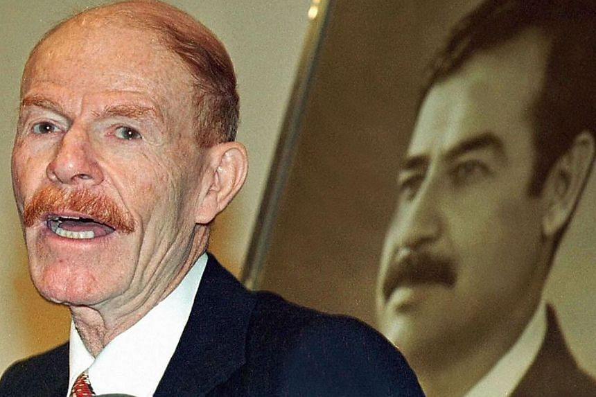 A file picture taken on March 26, 2003 shows Saddam Hussein's former deputy Izzat Ibrahim al-Duri speaking in Baghdad.The TV channel of Iraq's former ruling Baath party on Friday released an audio recording purportedly of the elusive Sadd