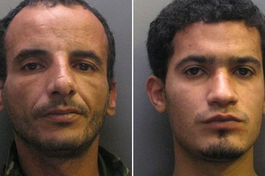 A combination of custody pictures released by Cambridgeshire Police on May 15, 2015 shows Libyan soldiers stationed in Britain, Moktar Ali Saad Mahmoud (left) and Ibrahim Abugtila (right), who were convicted at Cambridge Crown Court on May 15, 2015 o