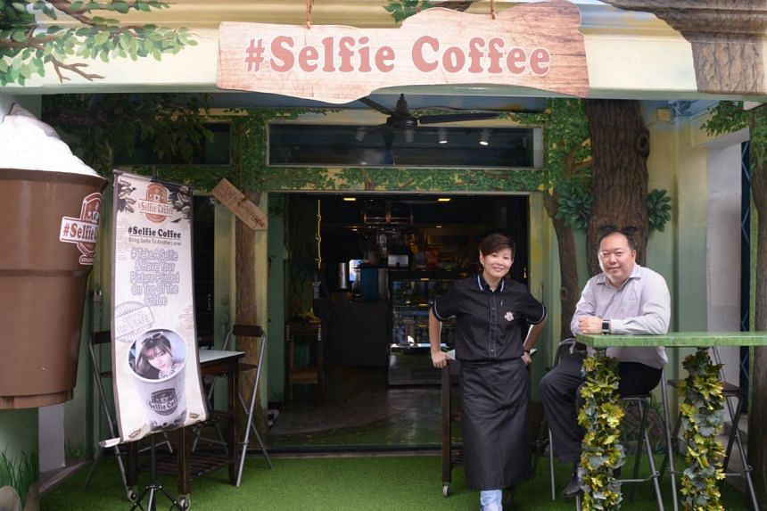 Operations manager Yves Zhuang (left) and Mr Eddy Chan (right), director of Avril Cafe, which opened Selfie Coffee in Haji Lane. -- ST PHOTO: DANIEL NEO
