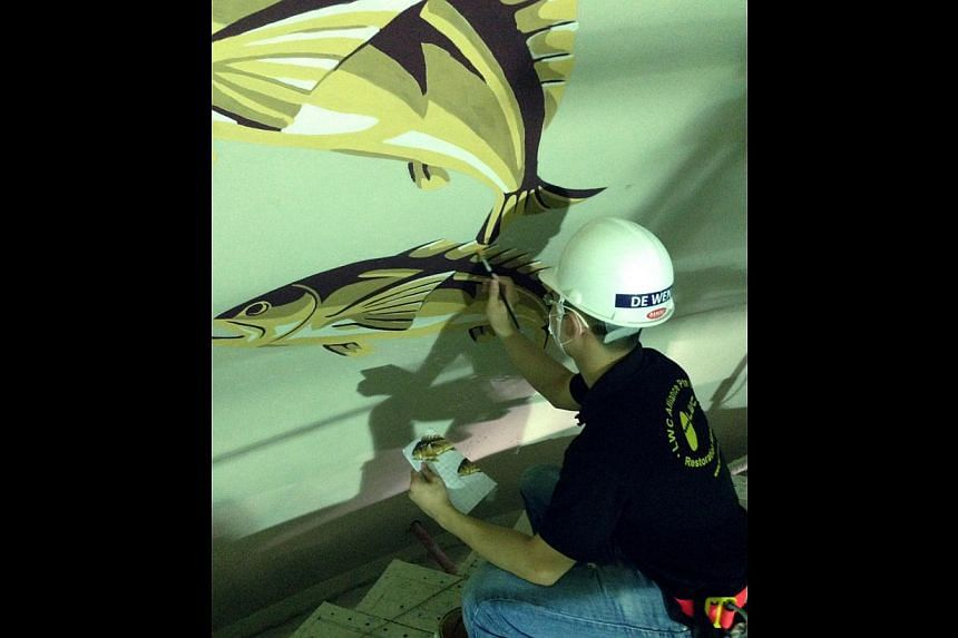 Mr Yang De Wen(above), on having to do precise calculations when painting the zodiac on the dome's ceiling. -- PHOTO: LWC ALLIANCE