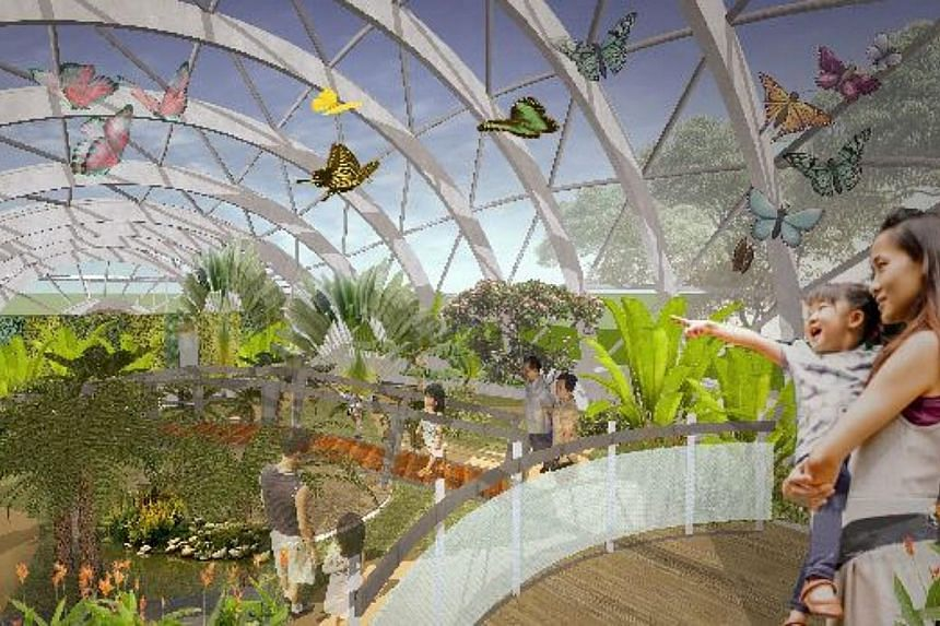 An artist's impression of the upgraded butterfly garden in Tampines, which will double the existing 132 sq m garden and feature a netted dome to house it. -- PHOTO:PEOPLE'S ASSOCIATION