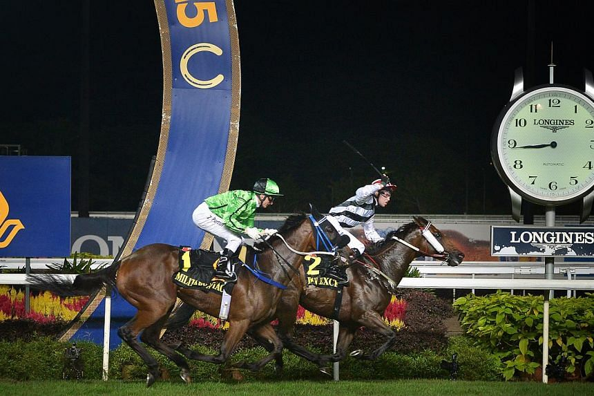 Horse No.2 Dan Excel wins the Singapore Airlines International Cup at the Singapore Turf Club on May 17, 2015.-- ST PHOTO:ALPHONSUS CHERN