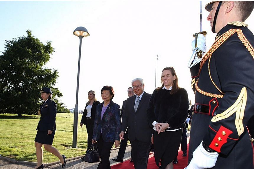 President Tony Tan Keng Yam and his wife Mary, arriving in Paris on Sunday, on May 17, 2015, for a state visit to France. They are accompanied by French Secretary of State for Digital Affairs Axelle Lemaire (second from right). -- PHOTO: MCI