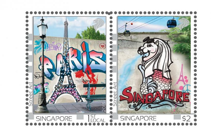 The stamp issue is part of the Singapore in France festival, a three-month-long showcase of Singapore's contemporary art and culture in seven cities around France. -- PHOTO: SINGAPORE POST