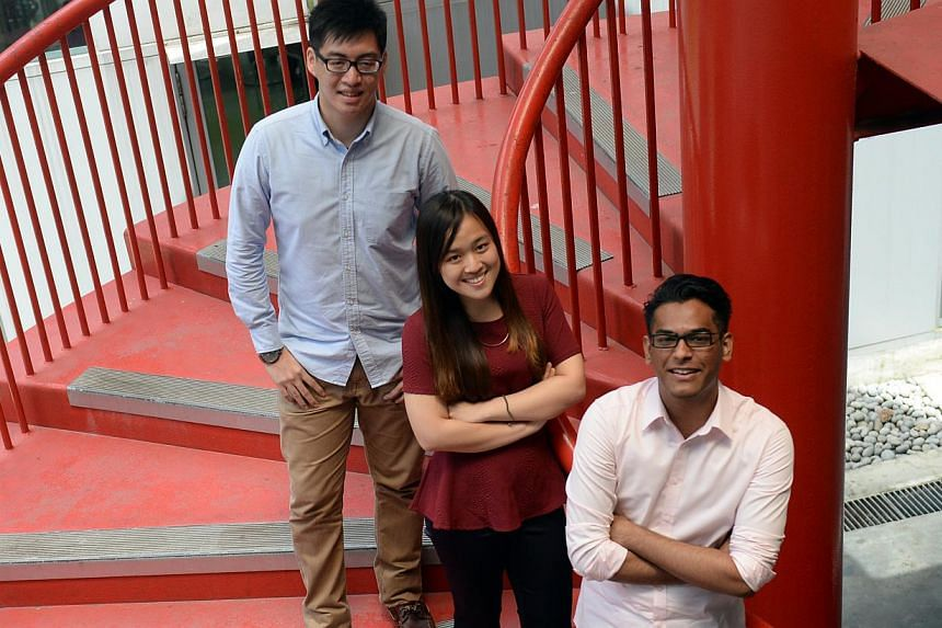 Singapore Polytechnic students (from left) Loh Hong Rong, Amanda Chia and Ahmad Abdurrahman - a former madrasah student - have been accepted into NUS' Yong Loo Lin School of Medicine.