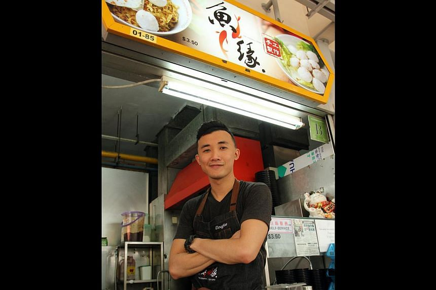 Food Wars Asia host Michele Lean with Mr Anon Foo, who owns Wu Ke Shu Satay at Satay By The Bay in Marina Gardens Drive, and Mr Douglas Ng (above) of Fishball Story in Golden Mile Food Centre. Both stalls have seen new customers since the show aired.