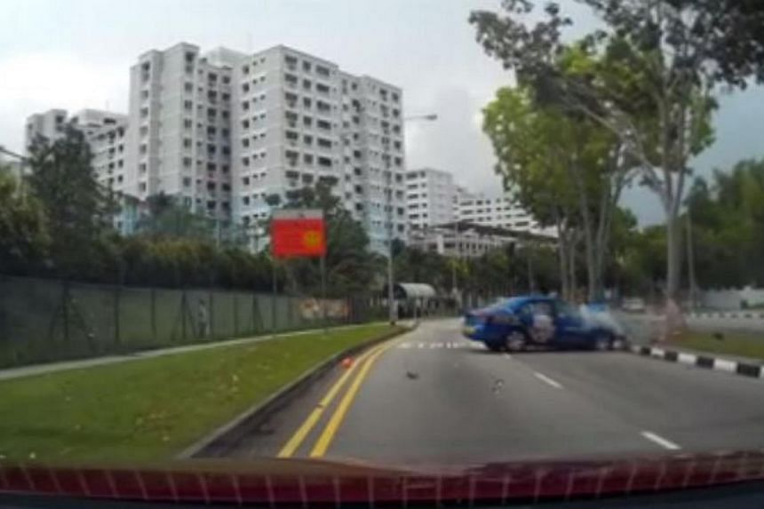 The aftermath of the crash, which was captured by Pasir Ris-Punggol GRC MP Zainal Sapari on his car camera. -- PHOTO: ZAINAL SAPARI/FACEBOOK