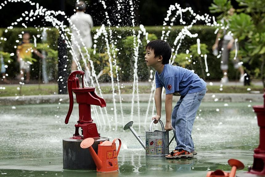 Dave Tan, six, preparing to water the plants in the WaterPlay Area of Asia's first dedicated garden for children under 13. A growing group of scientists, education researchers and educators say there is little evidence to show that an early start i
