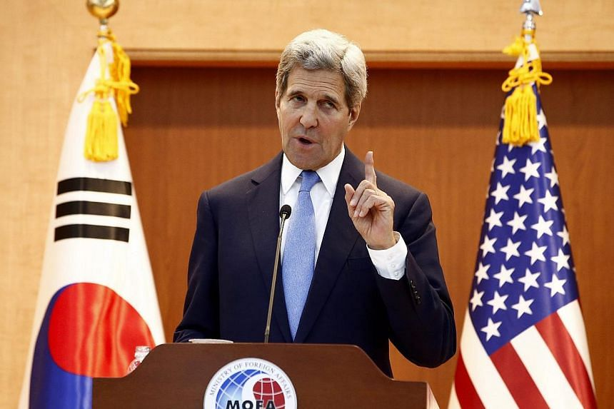 US Secretary of State John Kerry said at a press conference in Seoul, South Korea, on May 18, 2015, that he was confident the takeover of the western Iraqi city of Ramadi by Islamic State in Iraq and Syria (ISIS) militants would be reversed in coming