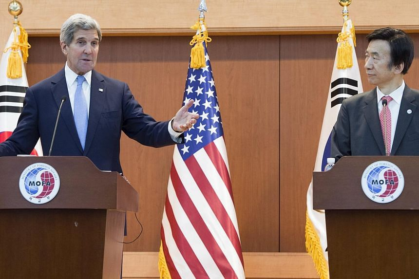 United States Secretary of State John Kerry (L) speaks during a joint press conference with South Korea's Foreign Minister Yun Byung-se (R)following meetings at the Ministry of Foreign Affairs in Seoul on May 18, 2015. -- PHOTO: AGENCE FR