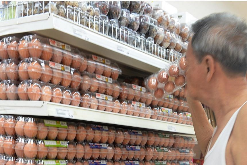 An increase in the supply of eggs from Malaysia has led to a recent drop in prices here. -- ST FILE PHOTO