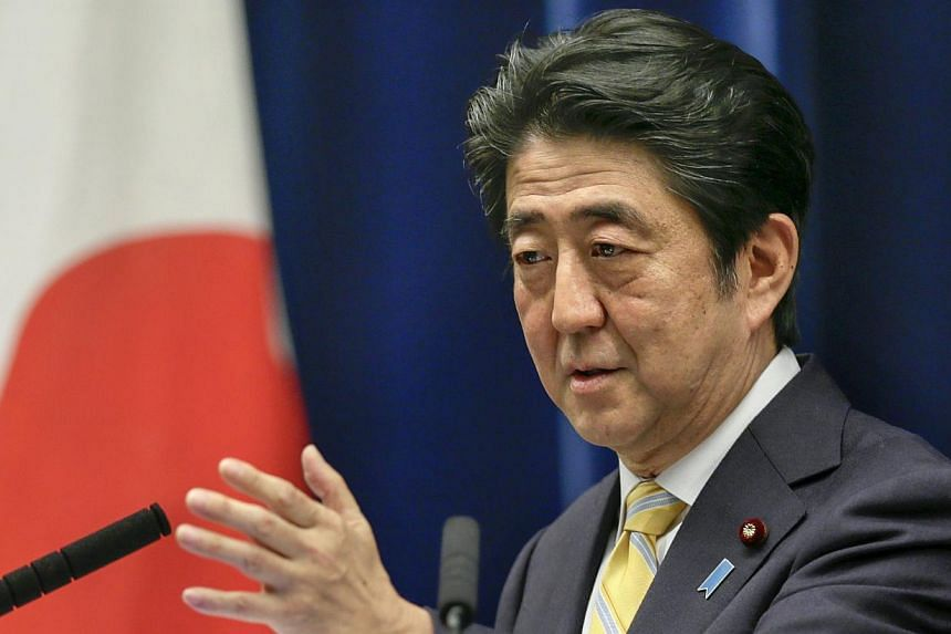 Japan's Prime Minister Shinzo Abe speaking at a news conference at his official residence in Tokyo, Japan, on May 14, 2015. -- PHOTO: EPA