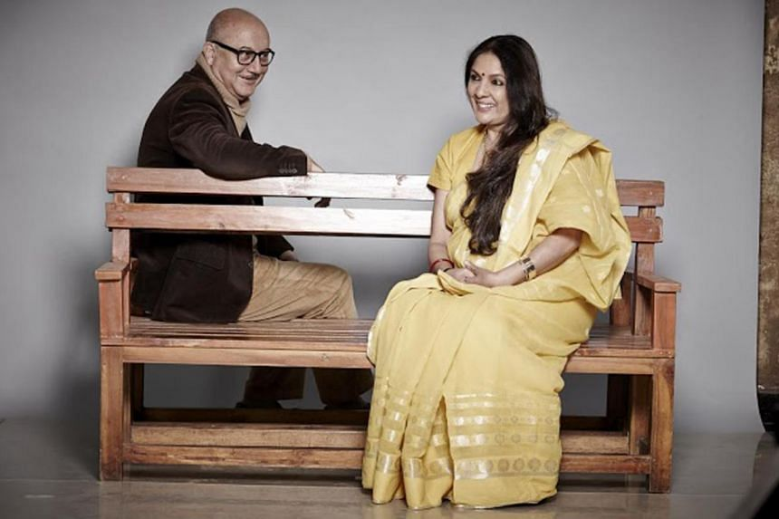 Neena Gupta (right) and Anupam Kherplay (left) ex-lovers in the play We Never Say What We Mean, to be held at the Esplanade on May 29. -- PHOTO: TEAMWORK PRODUCTIONS