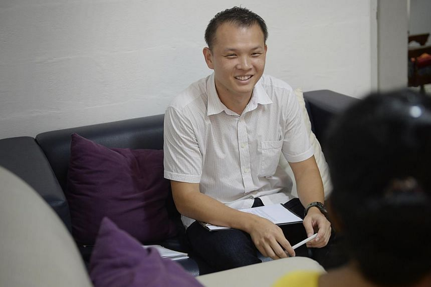 Mr Melvin Yeo is working and pursuing a bachelor's degree in social work now so that he can eventually become a full-fledged social worker. -- ST PHOTO: MARK CHEONG