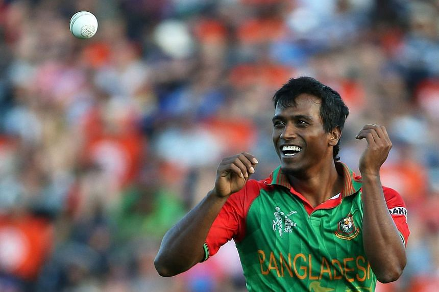 Pakistan bowler Rubel Hossain reacts during the Pool A 2015 Cricket World Cup match between New Zealand and Bangladesh at Seddon Park in Hamilton on March 13, 2015.A Bangladesh court on Wednesday rejected a rape case against World Cup hero Rube