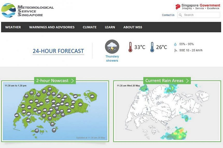 The website, www.weather.gov.sg, provides weather forecasts, warnings and advisories of heavy rain, smoke haze and the long-term climate statistics of Singapore. -- PHOTO: SCREENGRAB FROM WEATHER.GOV.SG