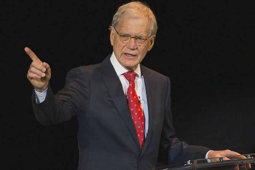 David Letterman on stage in New York on March 2, 2015. -- PHOTO: REUTERS