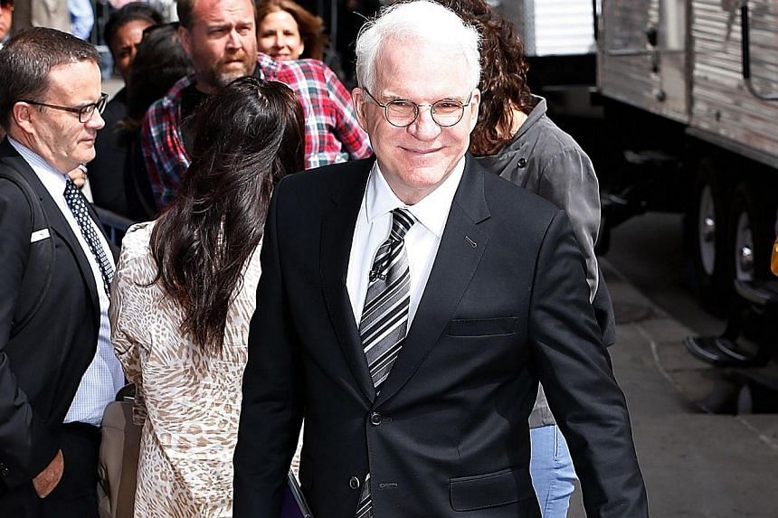 Comedian Steve Martin arriving at the Late Show With David Letterman on May 20, 2015, at the Ed Sullivan Theatre on May 20, 2015 in New York City. -- PHOTO: REUTERS