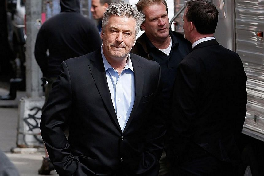 Actor Alec Baldwin arriving at the Late Show With David Letterman on May 20, 2015, at the Ed Sullivan Theatre on May 20, 2015 in New York City. -- PHOTO: AFP