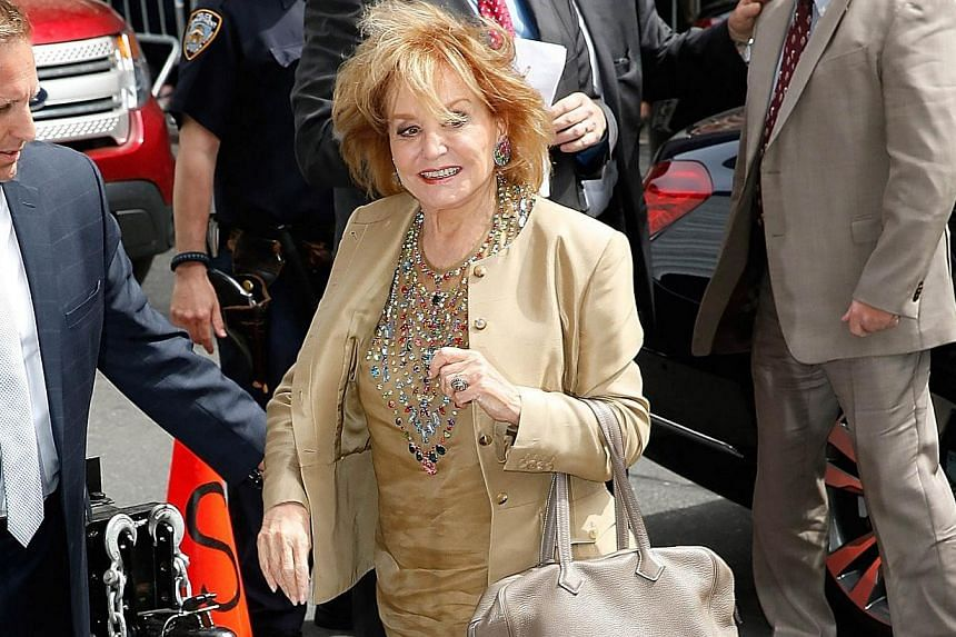 TV personality Barbara Walters arriving at the Late Show With David Letterman on May 20, 2015, at the Ed Sullivan Theatre on May 20, 2015 in New York City. -- PHOTO: AFP