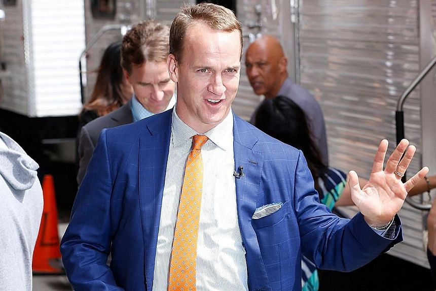 American football player Peyton Manning arriving at the Late Show With David Letterman on May 20, 2015, at the Ed Sullivan Theatre on May 20, 2015 in New York City. -- PHOTO: AFP