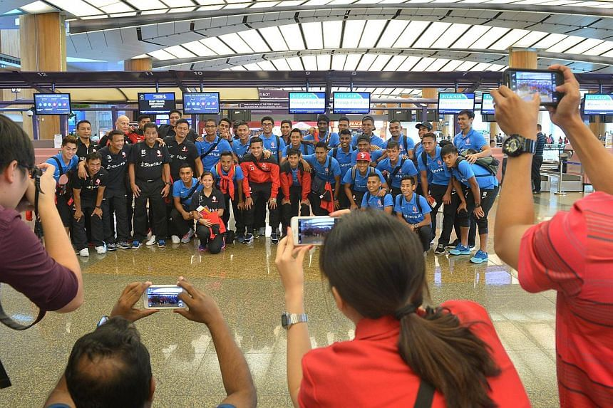 The LionsXII at the Changi Airport Terminal 2 departing for Kuala Lumpur ahead of Malaysia FA Cup Final. -- ST PHOTO: ALPHONSUS CHERN