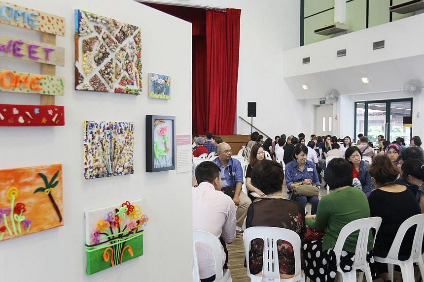 Some artwork from the Rainbow in the Dark project by the Singapore Association for the Visually Handicapped (SAVH) being featured at the tea session on Thursday, May 21, 2015. -- PHOTO: LIANHE ZAOBAO