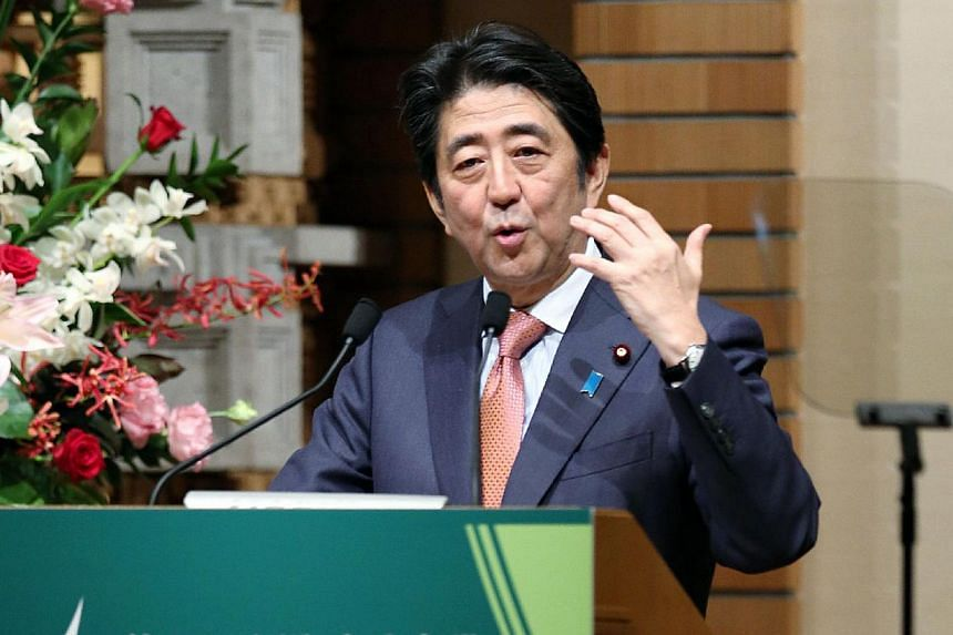 Prime Minister Shinzo Abe announcing the US$110 billion package for infrastructure projects in Asia. The amount tops the expected US$100 billion capitalisation of the Asian Infrastructure Investment Bank.