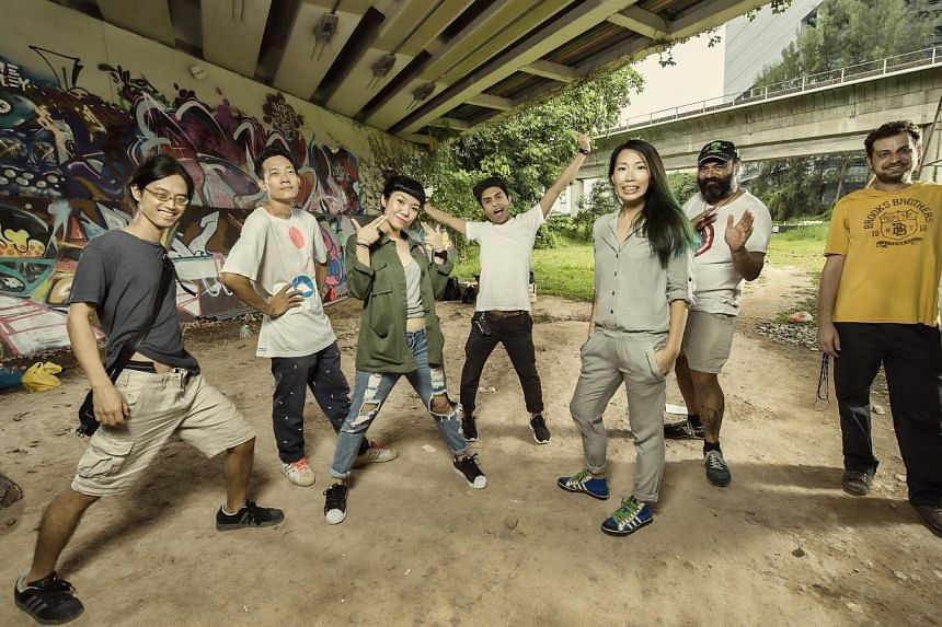 Artists involved in Off The Rails include (from left) Charles Osawa from collective WeJungle; Soh Ee Shaun or eeshaun; Amanda Keisha Ang or DJ A/K/A; Zul Othman or ZERO; Soph Ong; Australian-based artist Regan Tamanui or HA-HA; and Antonis Giannakaki