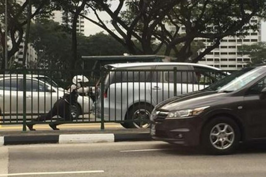 "A Traffic Police officer seen pushing a car on a busy road is attracting online accolades for his ""superhero"" feat. -- PHOTO: SINGAPORE AUTOMOBILE.COM/FACEBOOK"