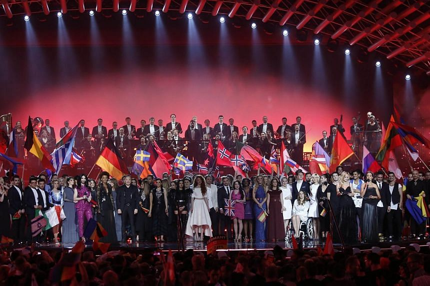 A general view ahead of the Eurovision Song Contest final on May 23, 2015 in Vienna. -- PHOTO: AFP