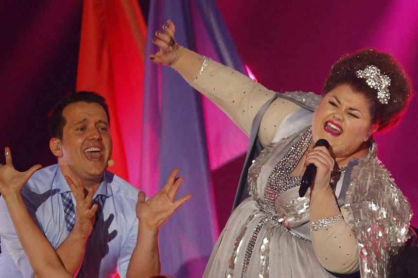 Singer Bojana Stamenov of Serbia performs the song Beauty Never Lies during the final of the 60th annual Eurovision Song Contest in Vienna, Austria on May 23, 2015. -- PHOTO: REUTERS