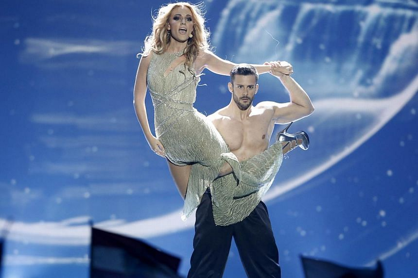 Spain's Edurne performs during the 60th Eurovision Song Contest final on May 23, 2015 in Vienna. -- PHOTO: AFP