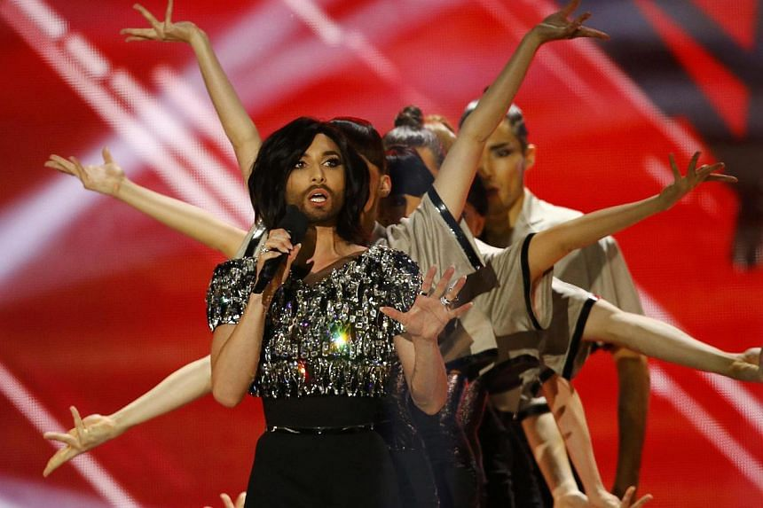 Last year's winner Conchita Wurst of Austria performs during the final of the 60th annual Eurovision Song Contest in Vienna, Austria on May 23, 2015. -- PHOTO: REUTERS