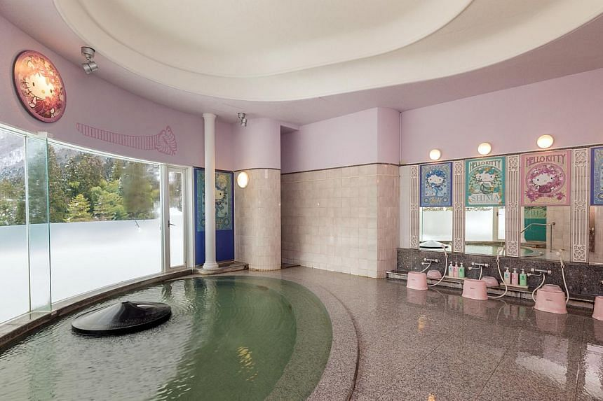 Among the more than 200 onsens in Gunma Prefecture is a Hello Kitty-themed indoor onsen (above) at the Shima Grand Hotel that opened in January. -- PHOTO: SHIMA GRAND HOTEL