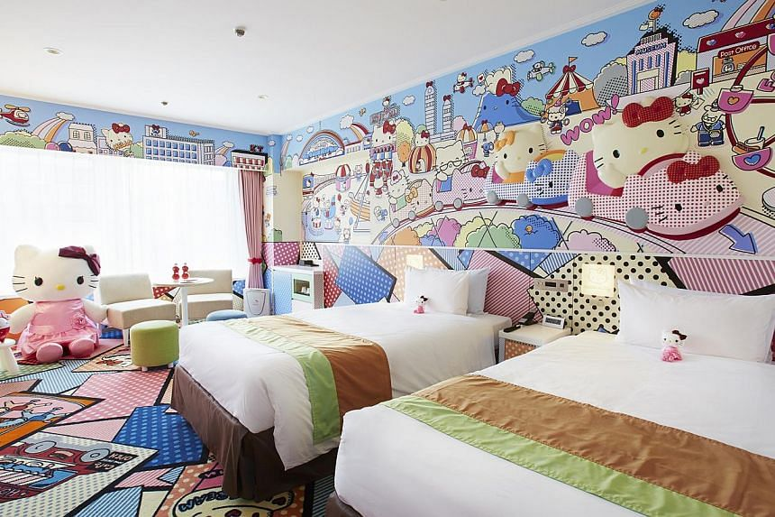 Fans of Hello Kitty will be pleased to stay in either the Princess Kitty rooms or Kitty Town rooms (above) of the Keio Plaza Hotel and visit the Sanrio Puroland theme park. -- PHOTO: KEIO PLAZA HOTEL