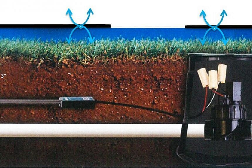 The smart irrigation system at Punggol's Northshore District. -- PHOTO: HDB