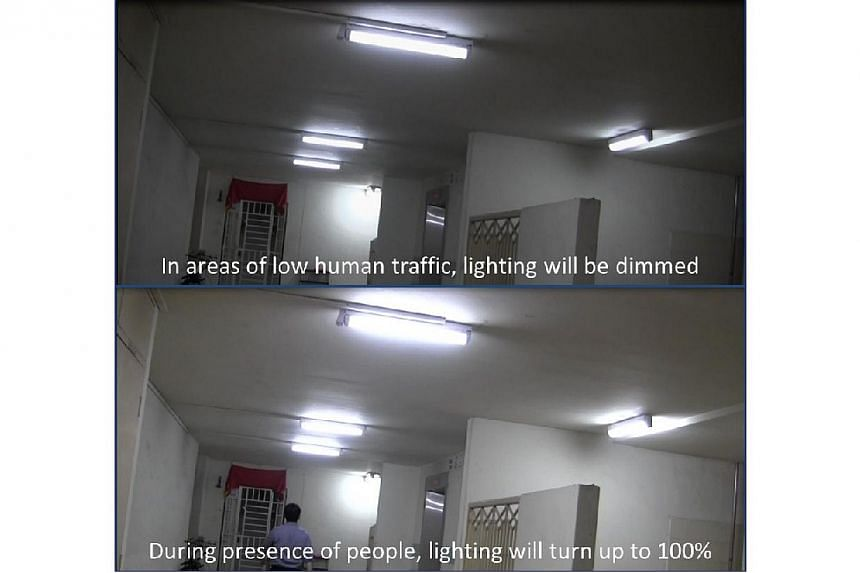 The smart lighting system at Punggol's Northshore District. -- PHOTO: HDB