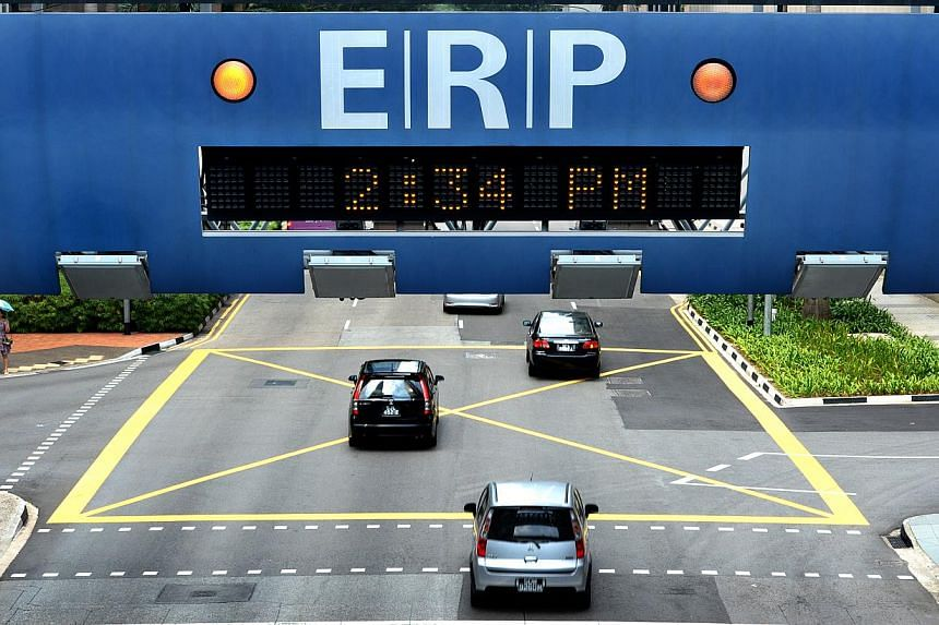 Electronic Road Pricing (ERP) rates and Vehicle Entry Permit (VEP) operating hours will be reduced from May 30 to June 28 in line with the June school holidays. -- ST FILE PHOTO
