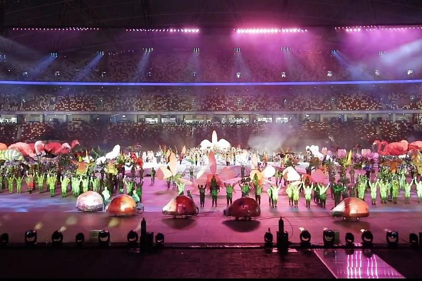 Performers rehearsing for the SEA Games opening ceremony. Minister for Culture, Community and Youth Lawrence Wong gave fans a brief taste of what to expect at the upcoming sporting event with a glimpse of the rehearsals, promising that there would al