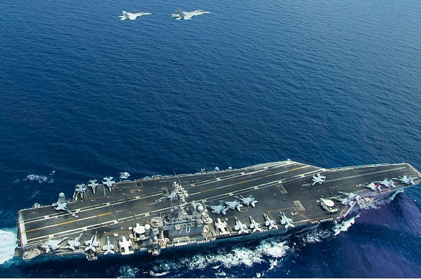 The aircraft carrier USS Carl Vinson (CVN 70) operating in the South China Sea during a bi-lateral exercise aimed at promoting interoperability with the Malaysian Royal Military, on May 10, 2015.China said on Monday, May 25, that it had lodged