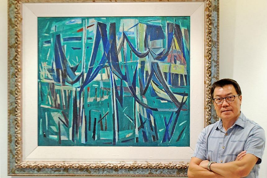 Private collector Patrick Goh has produced evidence that his Chen Wen Hsi painting, Net Drying, is authentic. -- PHOTOS: TIFFANY GOH, LIANHE ZAOBAO, ALLISON LIU