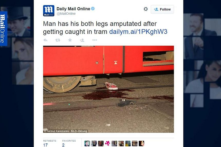 A German man was dragged beneath a tram for more than 3km and through seven stations, as passengers heard his screams but did not initially realise where the noise was coming from, the police said on Tuesday. -- SCREENSHOT: DAILYMAIL/TWITTER&nb