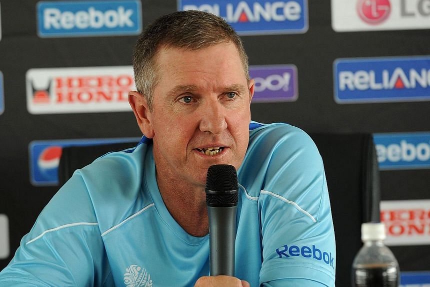 Then Sri Lanka cricket team coachTrevor Bayliss speaking at a press conference in Colombo during the cricket World Cup on Feb 18, 2011. Bayliss has been appointed the new head coach fro England's cricket team, theEngland and Wales Cricket