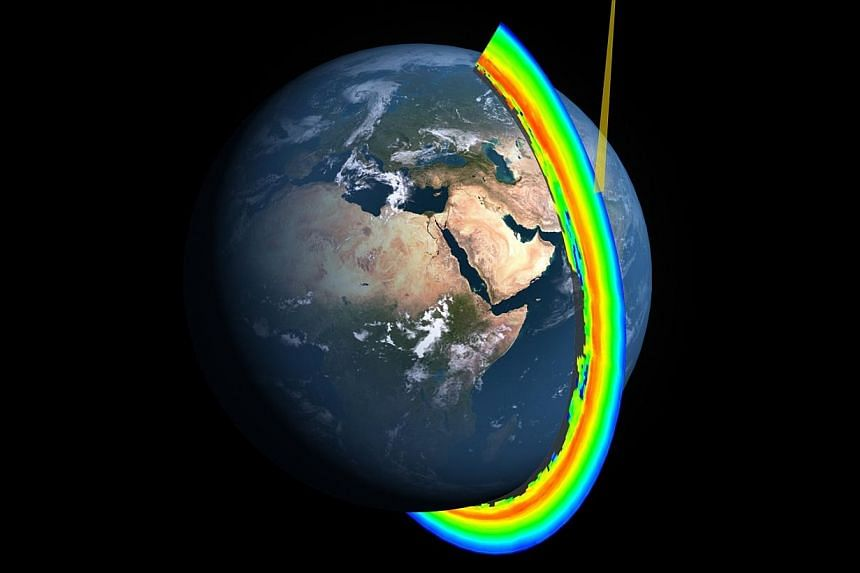 A cross-section of Earth's ozone layer as measured by the limb profiler, part of the Ozone Mapper Profiler Suite aboard the Suomi NPP satellite. -- PHOTO: NASA/NOAA