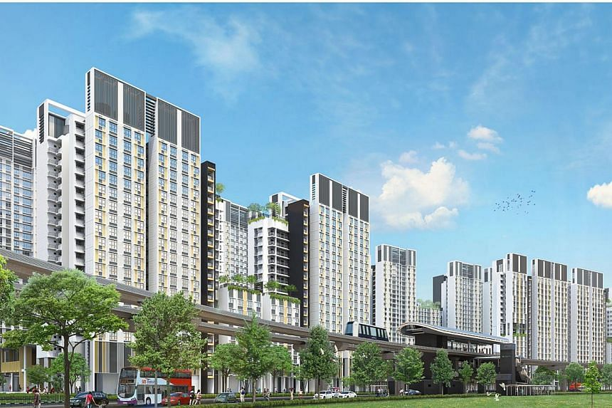 An artist's impression of Punggol's Northshore Residences I and II, which will house Singapore's first smart HDB homes. -- PHOTO: HDB
